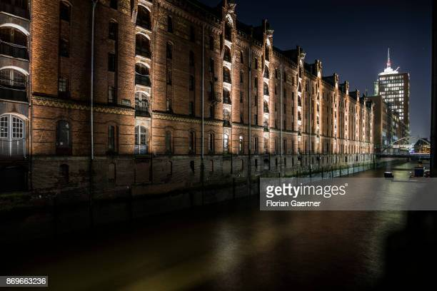 The Speicherstadt is pictured in the evening on November 02 2017 in Hamburg Germany