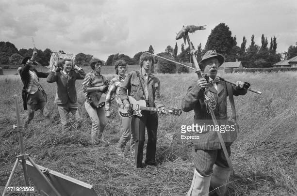The Spencer Davis Group filming the British musical comedy 'The Ghost Goes Gear' in the countryside UK 1966 English actor Jack Haig is at the front...