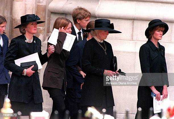 The Spencer family leaving Westminster Abbey after the funeral service for Princes Diana Princess of Wales 6th September 1997 The group includes Lady...