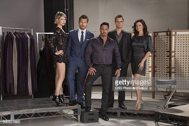 'The Spencer Family' Linsey Godfrey as Caroline Scott Clifton as Liam Don Diamont as Bill Darin Brooks as Wyatt and Heather Tom as Kate on the CBS...