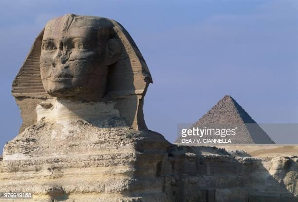 The Sphinx and the pyramid of Mycerinus Cairo Egypt