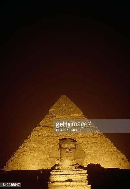 The Sphinx of Giza and the Pyramid of Khafre at night Giza Necropolis Egypt Egyptian civilisation Old Kingdom Dynasty IV