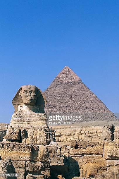 The Sphinx of Giza and the Pyramid of Khafre Giza Necropolis Egypt Egyptian civilisation Old Kingdom Dynasty IV