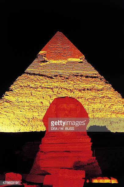 The Sphinx of Giza and the Pyramid of Khafre Giza Necropolis Egypt Egyptian civilisation Old Kingdom Dynasty IV Night view