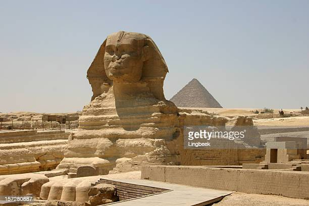 the sphinx with a pyramid - giza stock pictures, royalty-free photos & images