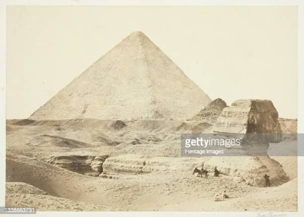 The Sphynx and Great Pyramid printed 1862. Albumen print, from the album 'Egypt, Palestine and Nubia' . Artist Francis Frith.