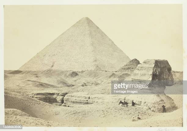The Sphynx and the Great Pyramid, Geezeh, 1857. Albumen print, pl. 2 from the album 'Egypt and Palestine, volume i' . Artist Francis Frith.