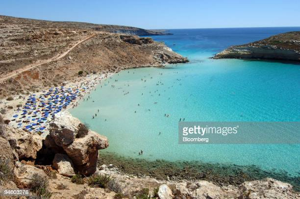 The Spiaggia dei Conigli or Rabbit Beach in Lampedusa Italy Monday September 4 2006 With its sunkissed beaches and crystalclear sea Lampedusa could...