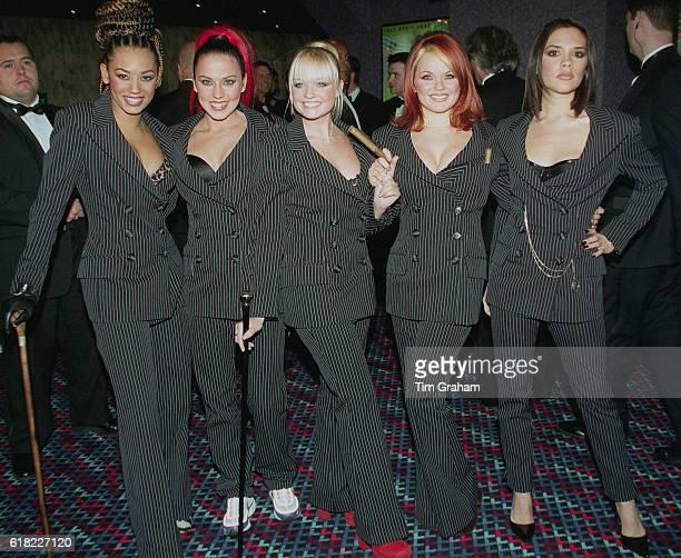 The Spice Girls at 'Spiceworld' celebrity movie premiere in London Sporty Spice Posh Spice Baby Spice Gerri Halliwell Victoria Adams Emma Bunton Mel...