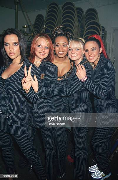 The Spice Girls attend the London premiere of 'Spice World' at the Empire Leicester Square 15th December 1997 From left to right Posh Ginger Scary...