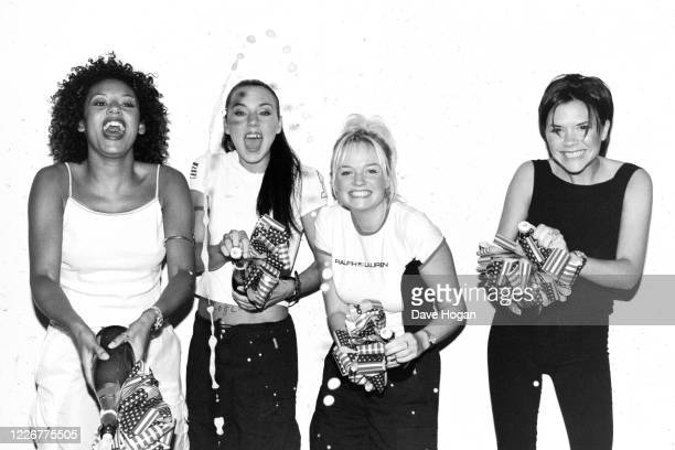 The Spice Girls celebrate as their single Viva Forever goes to number one in the charts, their seventh number one record, London, July 27th 1998
