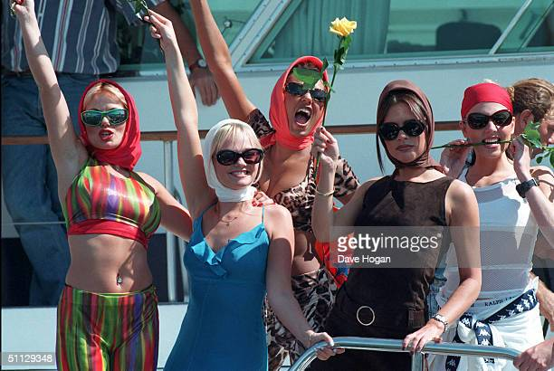 The Spice Girls L to R Geri Halliwell Emma Bunton Melanie Brown Victoria Adams and Melanie Chisholm in Cannes