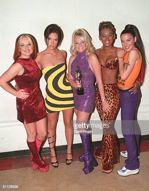 The Spice Girls L to R Geri Halliwell Victoria Adams Emma Bunton Melanie Brown and Melanie Chisholm at the Brit Awards