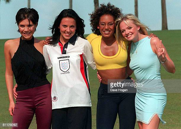 The Spice Girls L to R Victoria Adams Melanie Chisholm Melanie Brown and Emma Bunton pose in Miami in 1996
