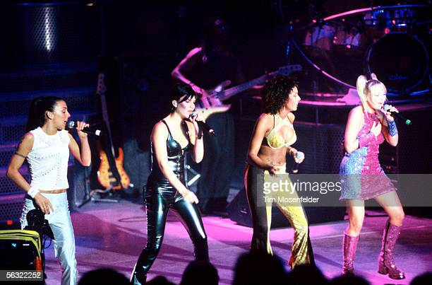 The Spice Girls perform at Shoreline Amphitheatre on August 13 1998 in Mountain View California