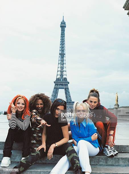 The Spice Girls pose in front of the Eiffel Tower in Paris September 1996 From left to right Geri Halliwell Melanie Brown Victoria Adams Emma Bunton...