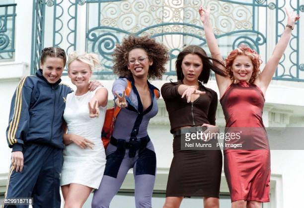 The Spice Girls pose outside the Martinez Hotel in Cannes, during the 50th Cannes Film Festival, to promote their new movie 'Spice the Movie' which...