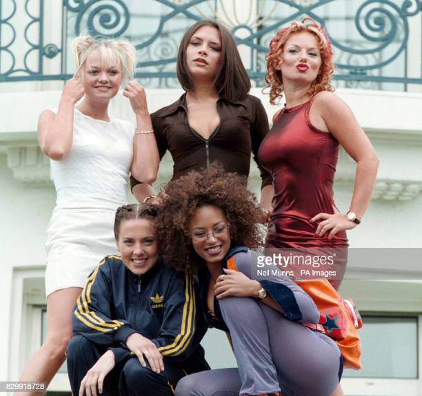 The Spice Girls pose outside the Martinez Hotel in Cannes during the 50th Cannes Film Festival to promote their new movie 'Spice World' which will be...