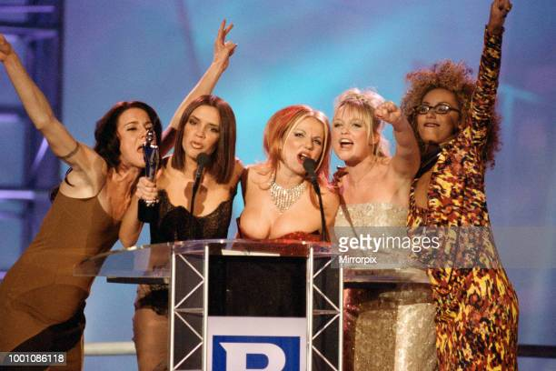 The Spice Girls receiving one of their awards at The Brit Music Awards at Earls Court, 24th February 1997.
