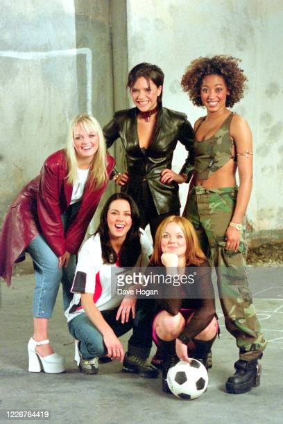 """The Spice Girls record the video for the single """" On Top of the World"""", England's official song for the 1998 Fifa World Cup, London, 1998"""