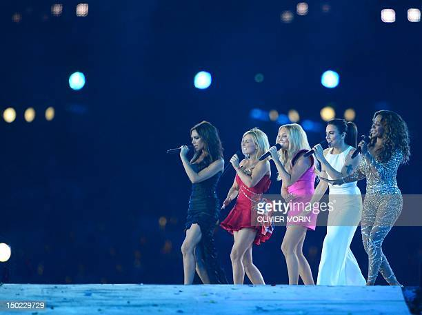 The Spice Girls' Victoria Beckham, Geri Halliwell, Emma Bunton, Melanie Chisholm and Melanie Brown perform during the closing ceremony of the 2012...