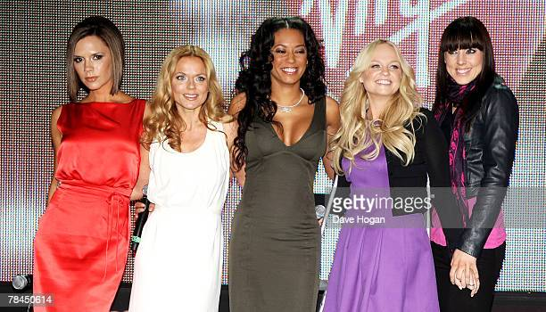 The Spice Girls Victoria Beckham Geri Halliwell Mel B Emma Bunton and Mel C attend a photocall to open Virgin Atlantic's new terminal at Heathrow...