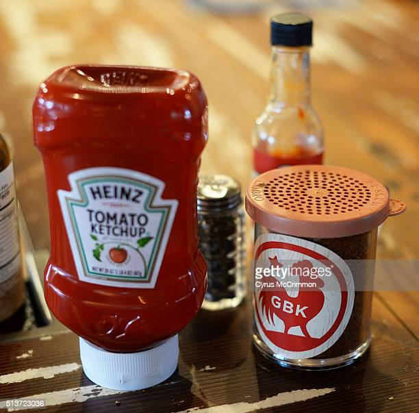 The spices and ketchup on the counter at the GoodBird Kitchen is a new restaurant in Longmont CO on Thursday February 25 2016 It is a supreme casual...
