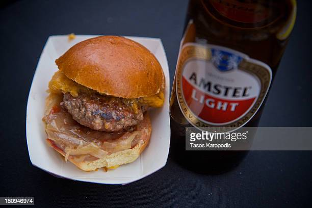 The spicy Sconnie from Edzo's with Amstel Light the official beer of the burger at RedEye and Metromix's Battle of the Burger presented by Amstel...