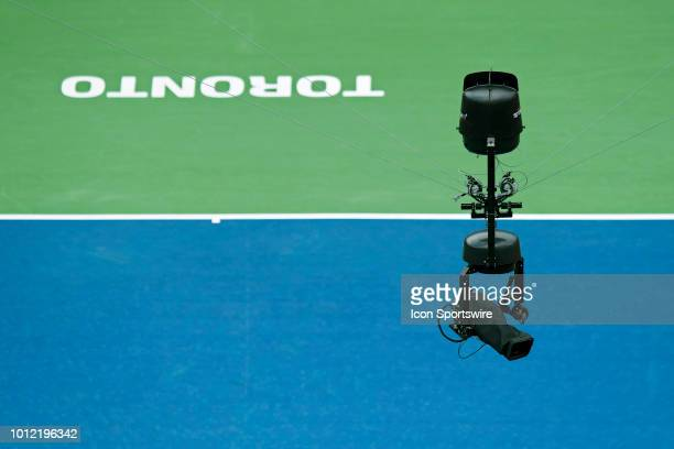 The Spidercam on wires moves over Centre Court during a match at the Rogers Cup Monday August 6 2018 at Aviva Centre in Toronto Ontario Canada The...