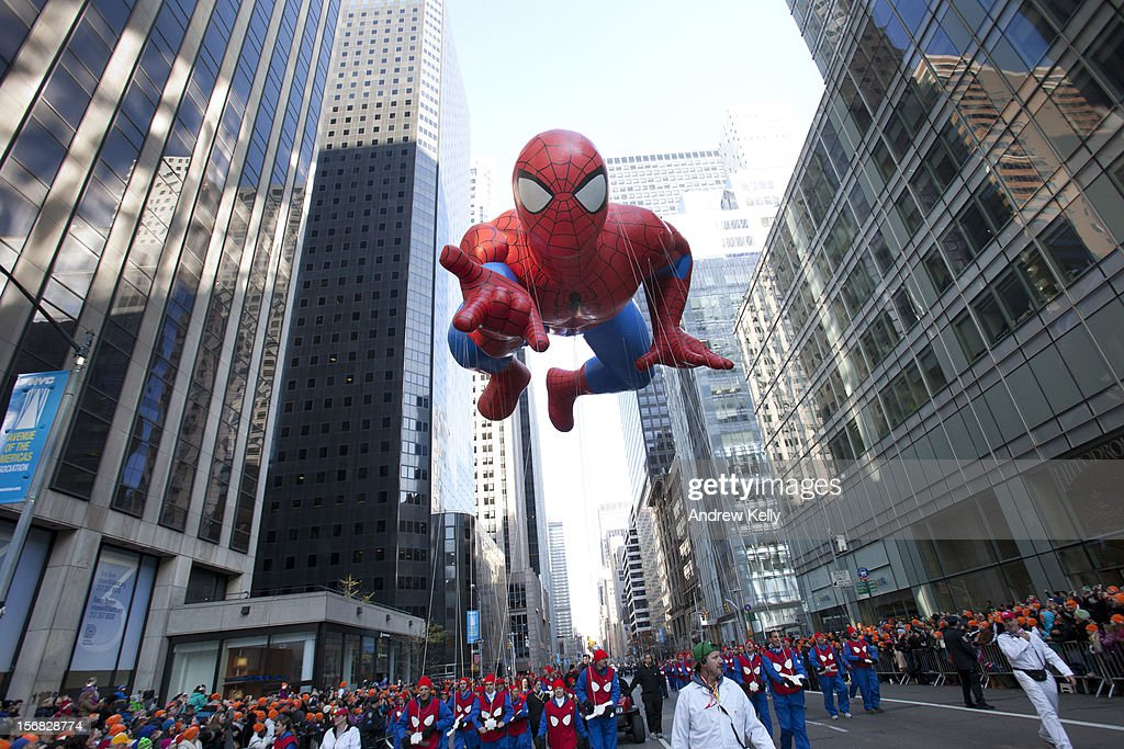 The Spiderman balloon makes its way down Sixth Avenue during the 86th Annual Macy's Thanksgiving Day Parade on November 22, 2012 in New York. Macy's donated tickets and transportation to this year's Thanksgiving Day Parade to 5,000 people from neighborhoods hardest hit by Superstorm Sandy.