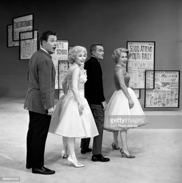 The Spike Jones Show a musical comedy television program Pictured from left here is comedian Len Weinrib comedienne Joyce Jameson Spike Jones and...