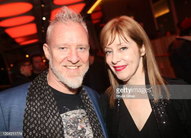 The Spin Doctors lead singer Chris Barron and Suzanne Vega pose at the opening night party for the new musical Bob Carol Ted Alice at Green Fig Urban...