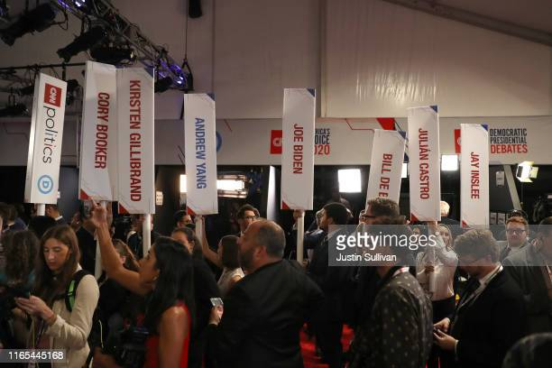 The spin room after the Democratic Presidential Debate at the Fox Theatre July 31 2019 in Detroit Michigan 20 Democratic presidential candidates were...