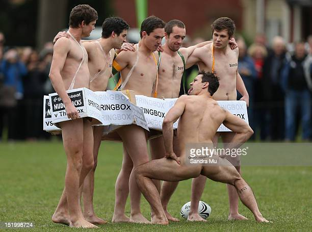 The Spingbox watch as a Nude Black player performs the Haka during the annual Nude rugby match between the New Zealand Nude Blacks and the South...