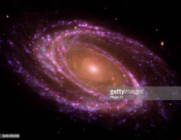 The spiral galaxy known as Messier 81 or M81 GALEX OrbiterHubble Space TelescopeSpitzer Space Telescope