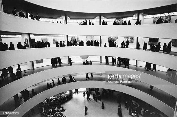The spiral interior of the Solomon R Guggenheim Museum designed by Frank Lloyd Wright New York City circa 1980