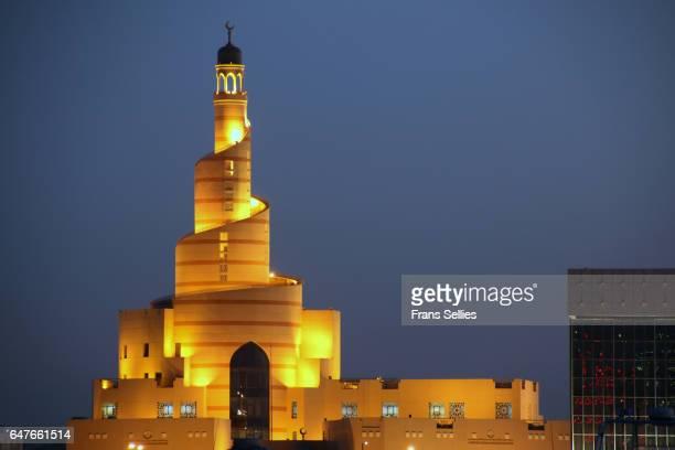 The spiral minaret of the Fanar Qatar Islamic Cultural Center, Doha, Qatar