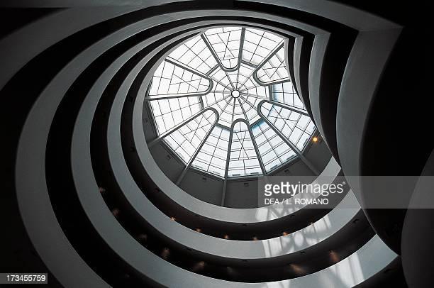 The spiral ramp inside the Solomon Guggenheim Museum designed by Frank Lloyd Wright Manhattan New York New York United States
