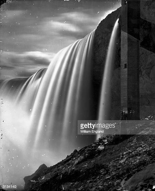 The spiral staircase down from Table Rock, leading to the passageway behind the Horseshoe Falls, the larger cataract of Niagara Falls.