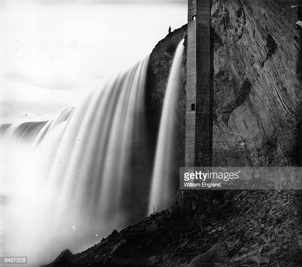 The spiral staircase leading from Table Rock to the Horseshoe Falls, Niagara, and a passage behind the falls.