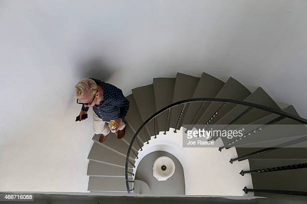 The spiral stairs are seen in the pool cabana during a tour of the former home of Al Capone on March 18 2015 in Miami Beach Florida The home being...