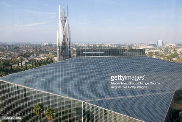 The spire and Crystal Cathedral as seen from the 13th floor of the Chapel in the Sky in the Tower of Hope at Christ Cathedral ///ADDITIONAL...