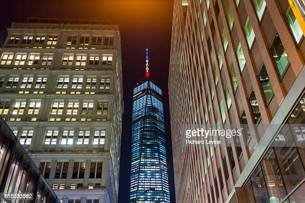 The spire of One World Trade Center appears as red white and blue in this photograph on Tuesday March 22 2016 The Port Authority claimed it was lit...