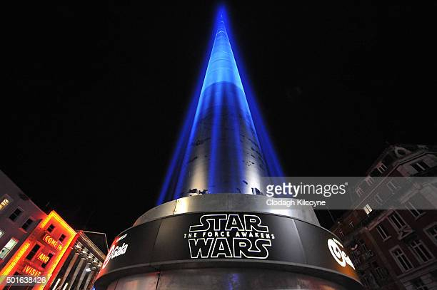 The Spire on O'Connell Street was transformed into one of the World's largest lightsaber models standing at 398 feet on December 16 2015 in Dublin...