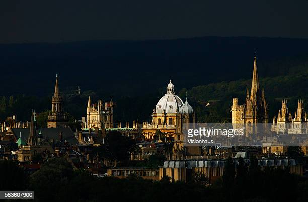 The spires of Oxford City bathed in autumn sunshine photographed from Boars Hill Affectionately named the city of dreaming spires by nineteenth...