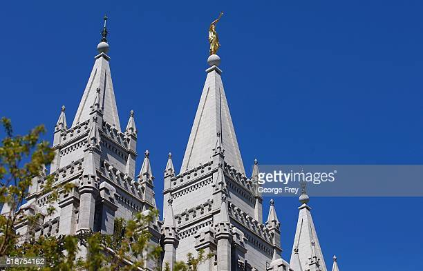 The spires of the historic Slat Lake Temple are shown here during the 186th Annual General Conference of the Church of Jesus Christ of LatterDay...