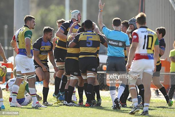 The Spirit celebrate a try during the NRC Semi Final match between the Sydney Rays and Perth Spirit at Pittwater Park on October 16 2016 in Sydney...