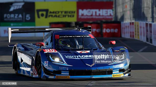The Spirit of Daytona Corvette DP of Richard Westbrook and Michael Valiente during practice for the Tequila Patron Sports Car Showcase race during...