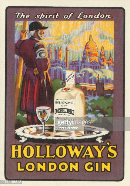 The spirit of London Holloway's London Gin' circa 1930s Advertisement for a brand of gin From a pack of corporate playing cards [Reid Wright Holloway...