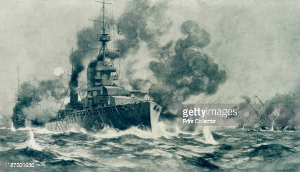 The Spirit of Our Old Navy Yet Llives The Drake Touch in the North Sea' 1915 British Battle cruiser Squadron sinking German cruisers and destroyers...